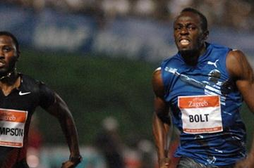 Usain Bolt (r) stride-for-stride with Richard Thompson in Zagreb (Zagreb organisers)