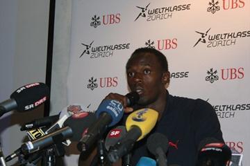 Usain Bolt at the pre-meet press conference in Zurich (Bob Ramsak)
