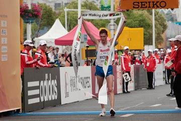 Russia's Mikhail Ryzhov wins the 50km at the 2014 IAAF World Race Walking Cup in Taicang (Getty Images)