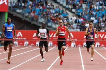 Another Samsung Diamond League win and world leader for Jeremy Wariner, this time in Paris (Errol Anderson)