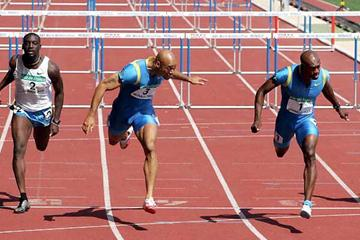 Dourcouré, Arnold and Johnson racing in Monaco at the World Athletics Final (AFP/Getty Images)