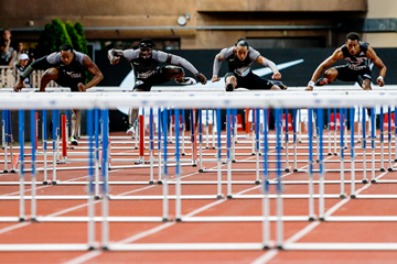 Orlando Ortega (right) on his way to winning the 110m hurdles at the IAAF Diamond League meeting in Monaco (Philippe Fitte)