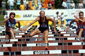 Carolina Klüft in the 100m Hurdles on the first day in Götzis 2005 (Hasse Sjögren)