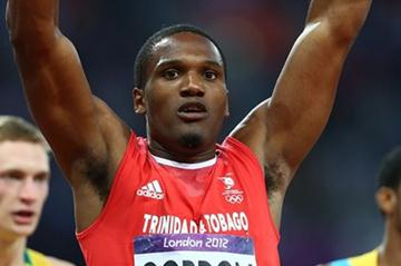 Lalonde Gordon of Trinidad and Tobago competes in the Men's 400m Semi Final on Day 9 of the London 2012 Olympic Games at the Olympic Stadium on August 5, 2012 (Getty Images)