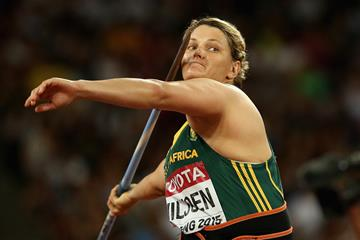 Sunette Viljoen in the javelin qualifying round at the IAAF World Championships, Beijing 2015 (Getty Images)