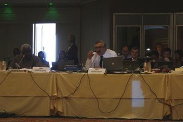 IAAF President Lamine Diack (l) and General Secretary Pierre Weiss at the IAAF Council Meeting in Monaco (Bob Ramsak)
