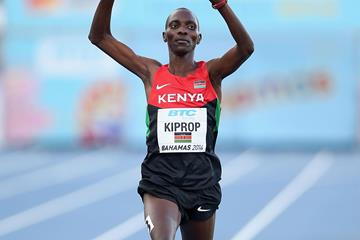 Asbel Kiprop of Kenya celebrates after winning and setting a world record of 14:22.22 in the men's 4x1500m relay (Getty Images)
