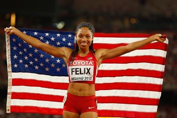 Allyson Felix after winning the 400m at the IAAF World Championships, Beijing 2015 (Getty Images)