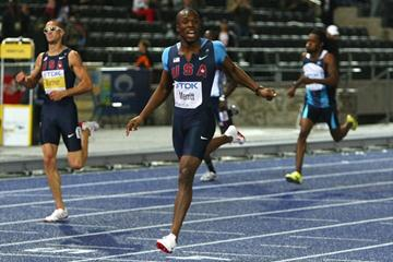 LaShawn Merritt of the United States looks at the clock as he crosses the line to win the gold medal in the men's 400m final in Berlin (Getty Images)