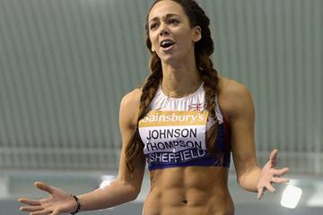 Katarina Johnson-Thompson after winning the British indoor high jump title with a national record of 1.97m (Getty Images)