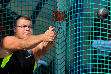 Poland's Pawel Fajdek in action in the hammer (AFP / Getty Images)