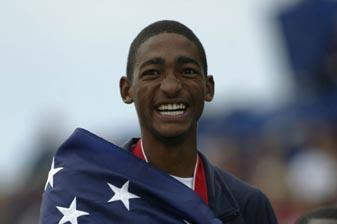 Jason Richardson of the USA celebrates winning the 400m Hurdles in Sherbrooke (Getty Images)