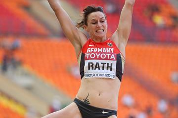 Claudia Rath in the womens Heptathlon Long Jump at the IAAF World Championships Moscow 2013 (Getty Images)