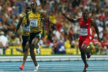 Action shot in the mens 100m Final at the IAAF World Athletics Championships Moscow 2013 (Getty Images)