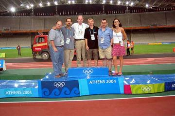 IAAF Internet Olympic reporting team - (l to r) Gordon, Ramsak, Turner, Brown, Downes, Arcoleo (IAAF)