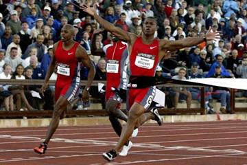 Bernard Williams wins the 2003 US National 100m (Getty Images)