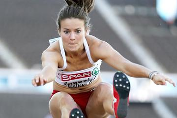 Poland's Anna Jagaciak in action in the Long Jump (Getty Images)