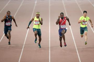 Justin Gatlin runs a world-leading 9.87 to win the 100m in Beijing (Getty Images)