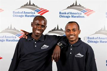 Sammy Wanjiru and Tsegaye Kebede on the eve of the Chicago Marathon (Victah Sailer)