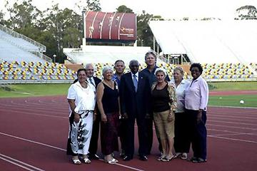 Brisbane RDC opening: L - R: Titau Maurin (President, French Polynesia AA), Bill Bailey (Oceania Area representative), Anne Tierney (Cook Islands, President Oceania AA), Lalau Willie Fong (President, Athletics Samoa), Lamine Diack, Geoff Gardner (Norfolk (Daryl Cross - PhotoAction)