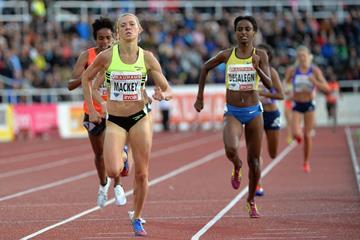Katie Mackey winning the 3000m at the 2015 IAAF Diamond League meeting in Stockholm (Deca Text&Bild)