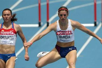 Zuzana Hejnova in the opening round of the 400m Hurdles (Getty Images)
