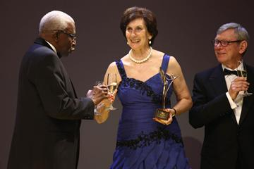IAAF President Lamine Diack, IAAF Hall of Fame members Irena Szewinska and Peter Snell at the IAAF Centenary Gala in Barcelona (Giancarlo Colombo)