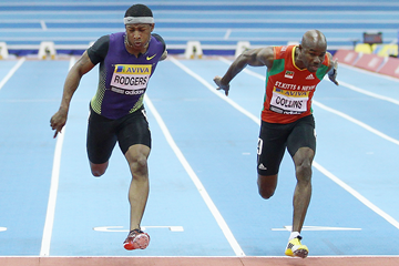 Mike Rodgers and Kim Collins in action in the 60m (Getty Images)