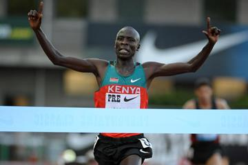 Moses Mosop wins the 30,000m in a World record in Eugene (Kirby Lee)