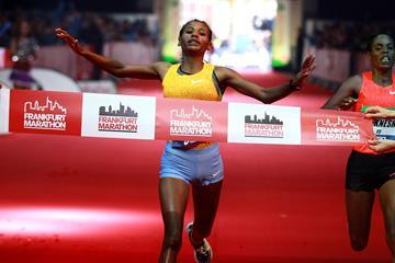 Gulume Tollesa wins the 2015 Frankfurt Marathon (Victah Sailer / organisers)
