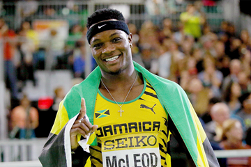Omar McLeod after winning the 60m hurdles at the IAAF World Indoor Championships Portland 2016 (Getty Images)