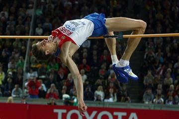 Yaroslav Rybakov of Russia competes in the men's High Jump which he wins with 2.32m at the 12th IAAF World Championships in Athletics (Getty Images)