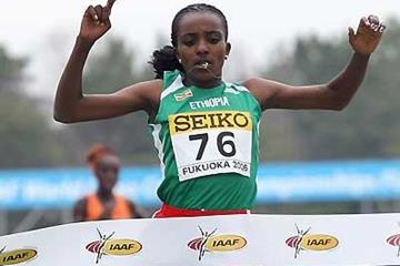 Tirunesh Dibaba winning in Fukuoka 2006 (Getty Images)