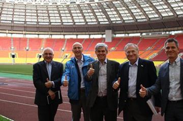 IAAF delegation visit Luzhniki stadium (l to r: Bailey, De Angeli, Salcedo, Hersh, Hardy) (ARAF)