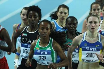 Meseret Defar of Ethiopia and Svitlana Shmidt of Ukraine compete in the Women's 3000 Metres first round during day one - WIC Istanbul (Getty Images)