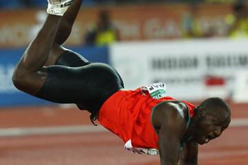Julius Yego of Kenya falls to the ground after a throw in the men's Javelin final at Jawaharlal Nehru Stadium during day nine of the Delhi 2010 Commonwealth Games on October 12, 2010 (Getty Images)