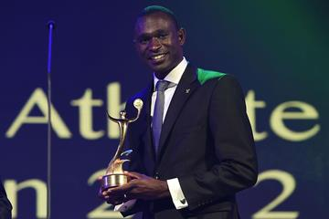 David Rudisha receiving the ANOC Award for Best Male Athlete of London 2012 at the ANOC Gala Awards Dinner in Bangkok (Getty Images)