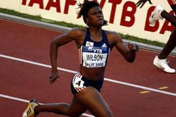 Nickiesha Wilson en route to the 400m Hurdles title at the IAAF / VTB Bank Continental Cup in Split (Bob Ramsak)
