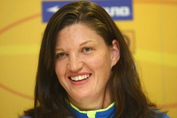 Stephanie Brown Trafton at the IAAF/VTB Bank World Athletics Final press conference in Stuttgart (Bongarts/Getty Images)