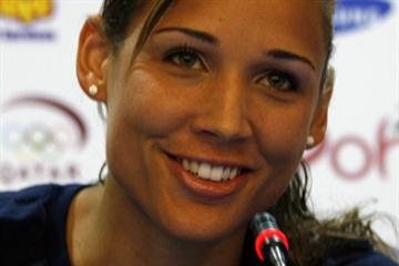 Lolo Jones at the pre-meet press conference in Doha (Bob Ramsak)