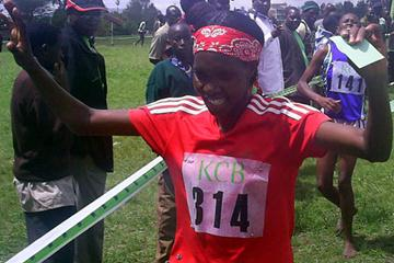 Irene Lemika celebrates her victory in the senior women's 8km race at the fourth AK KCB weekend meeting in Machakos (Omulo Okoth)