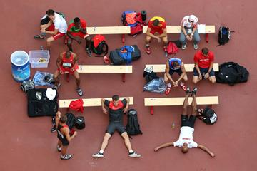 Athletes waiting between rounds of the decathlon discus at the IAAF World Championships, Beijing 2015 (Getty Images)