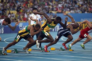 Usain Bolt of Jamaica pushes off to start his men's 100 metres semi final during day two (Getty Images)