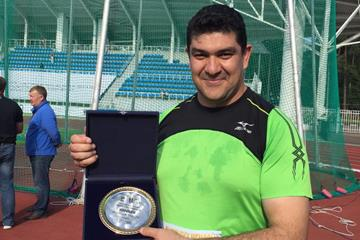 Dilshod Nazarov after winning at the 2015 Znamensky Memorial in Zhukovsky (ARAF)