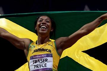 Shelly-Ann Fraser-Pryce of Jamaica celebrates winning the gold in the Women's 100m Final on Day 8 of the London 2012 Olympic Games at Olympic Stadium on August 4, 2012 (Getty Images)