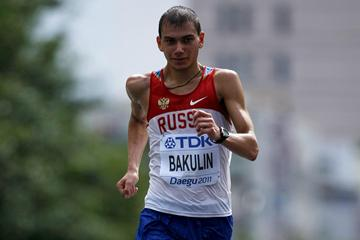 Sergey Bakulin en route to the 50Km Race Walk title in Daegu (Getty Images)