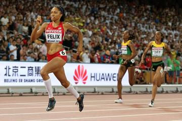 Allyson Felix on her way to winning the 400m at the IAAF World Championships, Beijing 2015 (Getty Images)