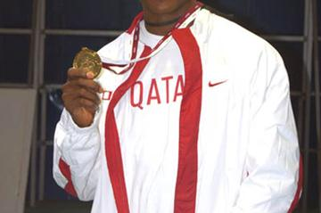 Samuel Francis with his Asian Indoor Championships 60m gold (Elshadai Negash)