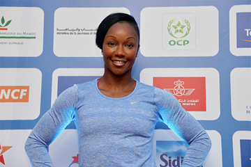 Carmelita Jeter ahead of the 2016 IAAF Diamond League meeting in Rabat (Kirby Lee)