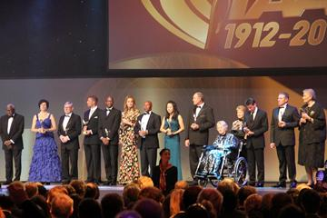 IAAF President Lamine Diack with some of the inaugural members of the IAAF Hall of Fame at the IAAF Centenary Gala in Barcelona (Bob Ramsak)